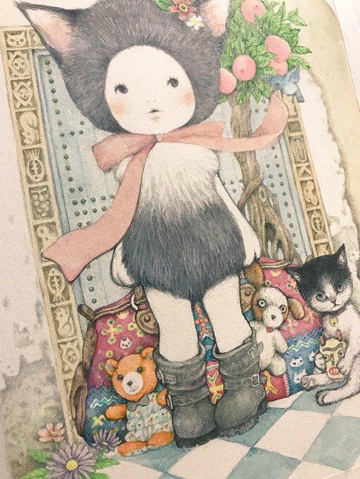 チミチミ描いてたこ完成した。 ポストカードにもしよう〜。 明日はこの子使って告知しよう(●´ω`●) て スピードアップしなきゃな! #山田雨月個展  #モノショップギャラリー