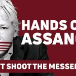 Hands off Assange—Don't shoot the messenger. Help support WikiLeaks editor @JulianAssange by printing your own banner/poster—Print ready pdf download (130x80cm): https://t.co/UzMXm8bVtz Pls request any other dimensions #FreeAssange