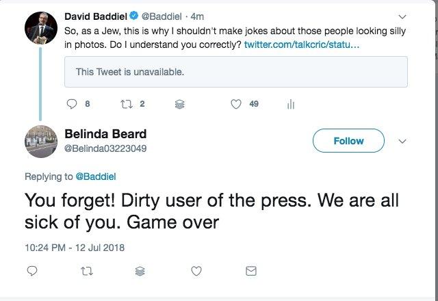 I think we can all agree that @Belinda03223049 is a native English speaker #dirtyuserofthepress