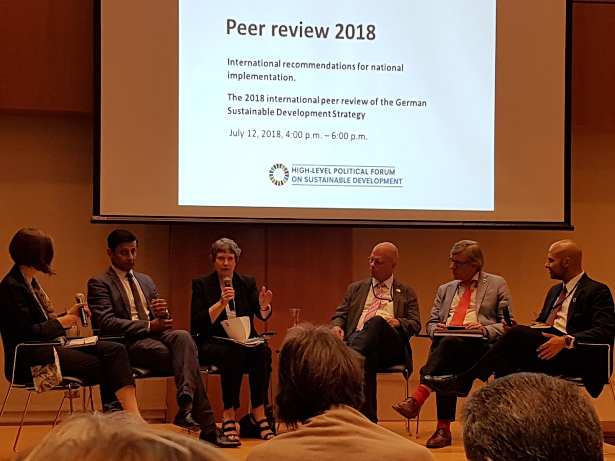 Thank you @GermanyUN for early on develop a long term #SDG sustainable development strategy - &amp; for being brave enough to allow external peer review - here presented at #HLPF #HLPF2018. We must all learn from your lessons &amp; do the same.<br>http://pic.twitter.com/VtEwwINcKl