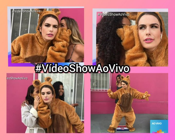 Boatos de que já temos um novo mascote do #VídeoShow 😱 Sim e ela @FernandaKeulla Ursinha Show 🐻 #VideoShowAoVivo Foto