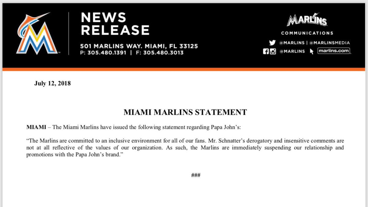 The #Marlins are cutting their ties with Papa John's. https://t.co/Tom8ToERNi