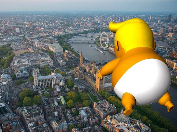 Twinkle, twinkle, Donald Trump, What a giant orange chump, Up above the world he flies, Like a condom full of lies. #TrumpUKVisit