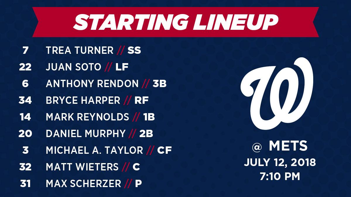 Here's how we're lining up in New York tonight. #Scherzday https://t.co/iddSoRHoQx