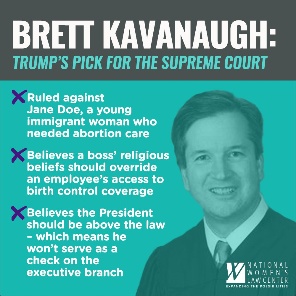 Trumps #SCOTUS pick has a history of opposing womens choice to make her own reproductive decisions. Thats why we are speaking out against his confirmation. Our Senators must vote against this regressive nominee! #SaveSCOTUS #StopKavanaugh #WhatsAtStake #SaveRoe