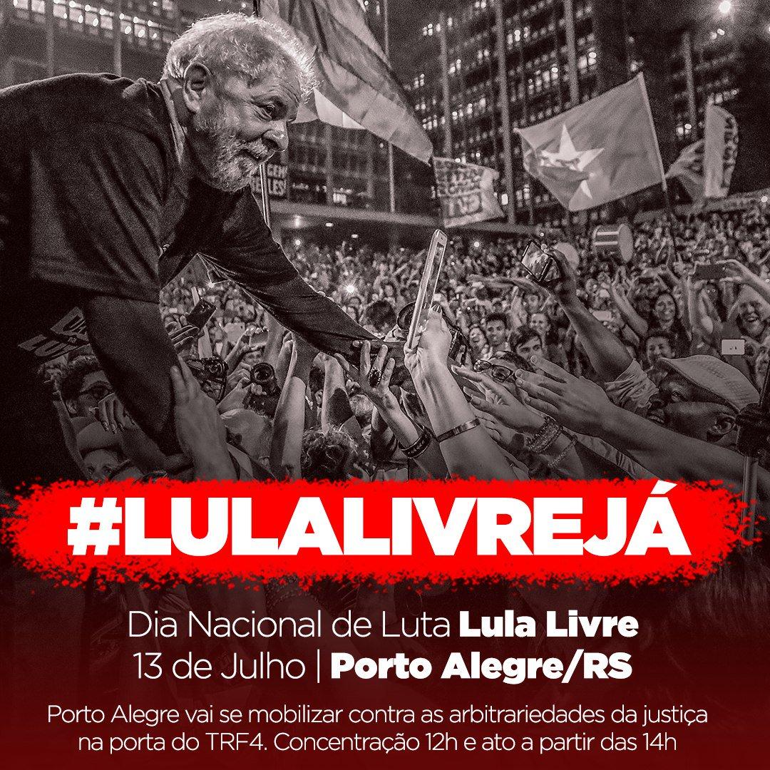 Porto Alegre quer #LulaLivreJá! Na próxima sexta-feira, no Dia Nacional de Luta, a mobilização é na porta do TRF-4, às 12h. https://t.co/TmKqe4qDb9