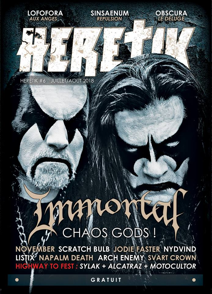 IMMORTAL featured on the cover of @heretikmag (France 🇫🇷), July/August 2018 issue. New album #NorthernChaosGods is out now and available at geni.us/ImmortalNCG.