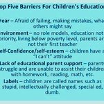 Barriers to a childs #education.