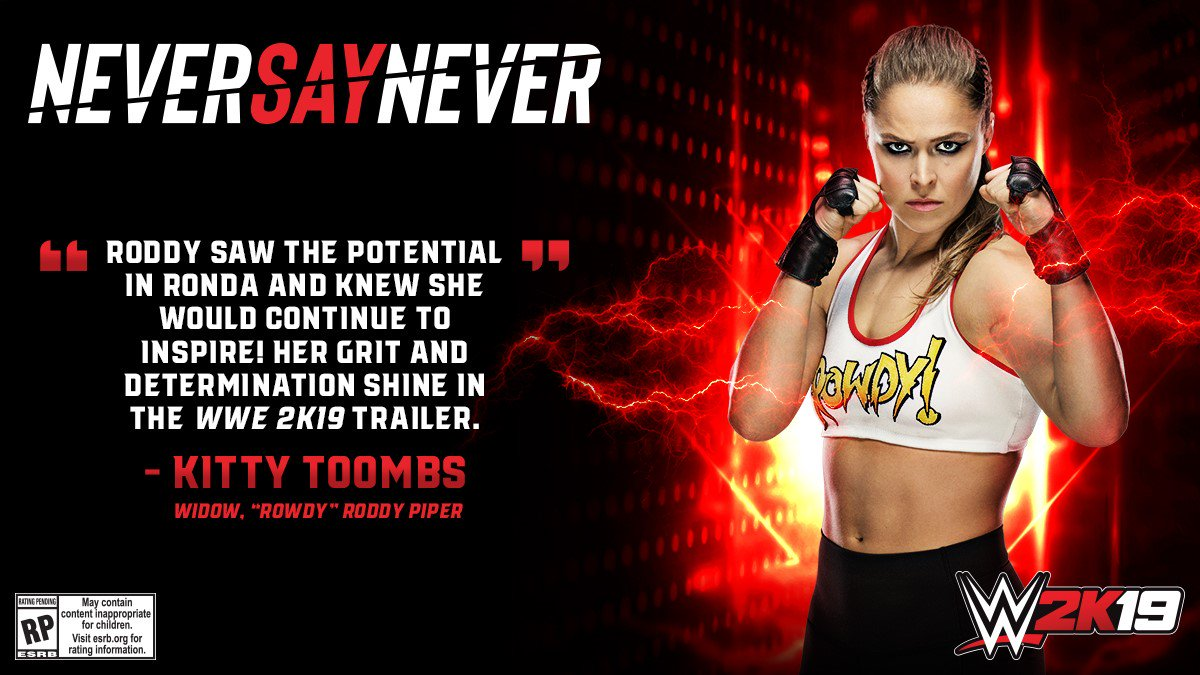 Its extremely special to get the blessing of @kittytoombs, widow of @R_Roddy_Piper, on our @RondaRousey #WWE2K19 pre-order trailer. #ICYMI watch here: youtu.be/0vOp_-MUNaY