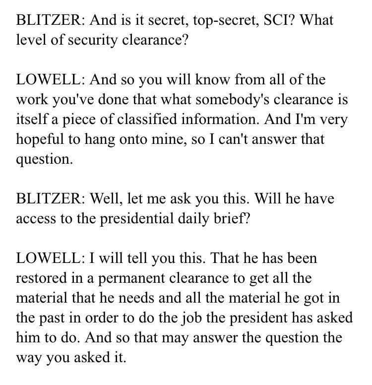 .@wolfblitzer asked AbbeLowell what level security clearance Jared Kushner had on 5/23/18.  Lowell declined to say if it was SCI.  Or if he could read the PDB. cc @CarolLeonnig @jdawsey1 @AshleyRParker