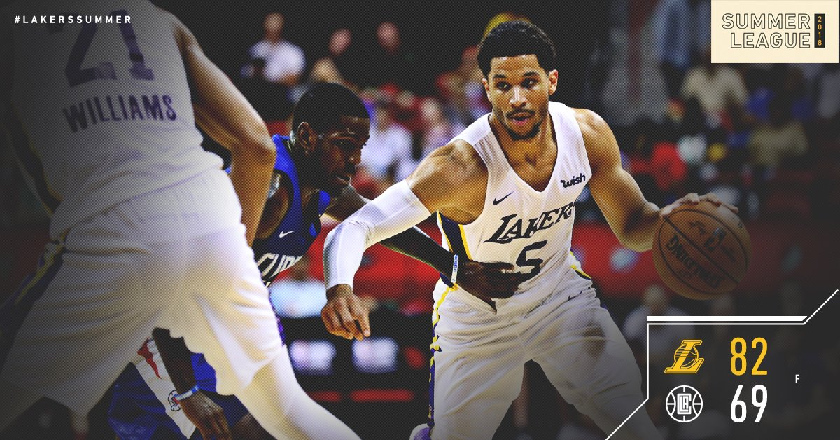 🔟 straight wins in Vegas! #LakersSummer heading to the quarterfinals!  @JoshHart_3: 20 pts, 6 re@Sviat_10b : 15 pts, 4 ast