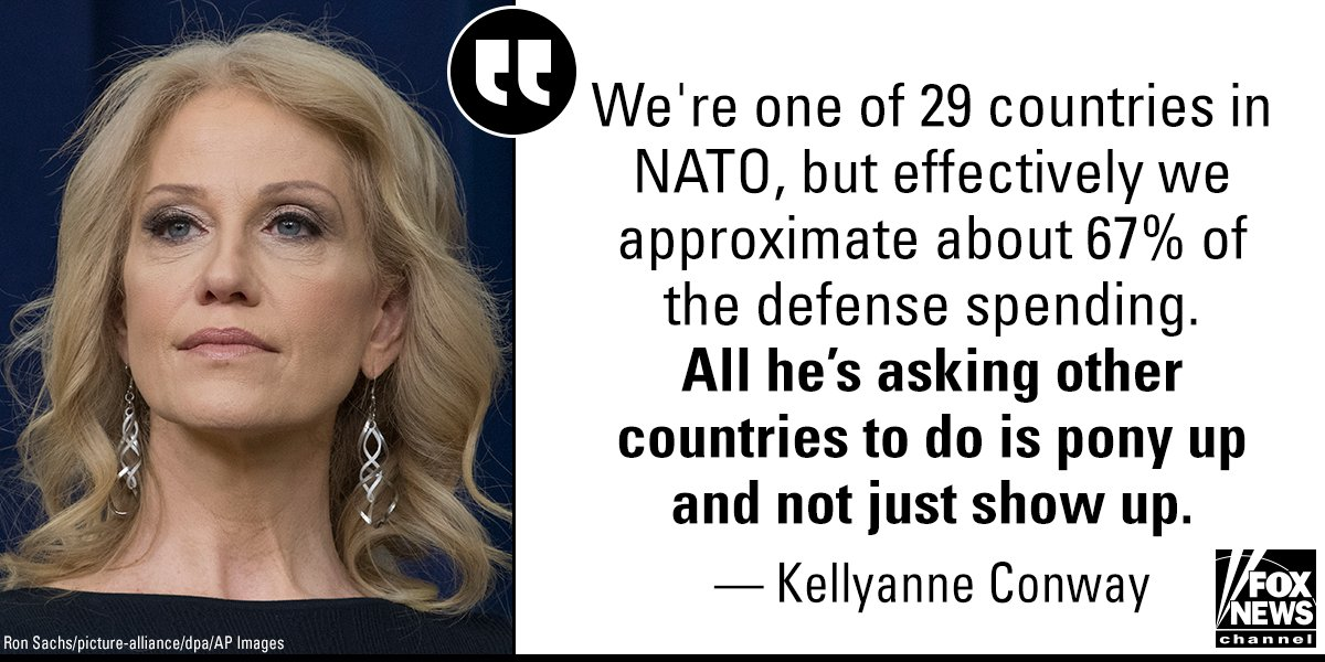 On @foxandfriends Thursday, @WhiteHouse Counselor @KellyannePolls discussed @POTUS&#39; efforts during this week&#39;s @NATO summit.  https:// fxn.ws/2KOSpEF  &nbsp;  <br>http://pic.twitter.com/PAVMxXBpyp