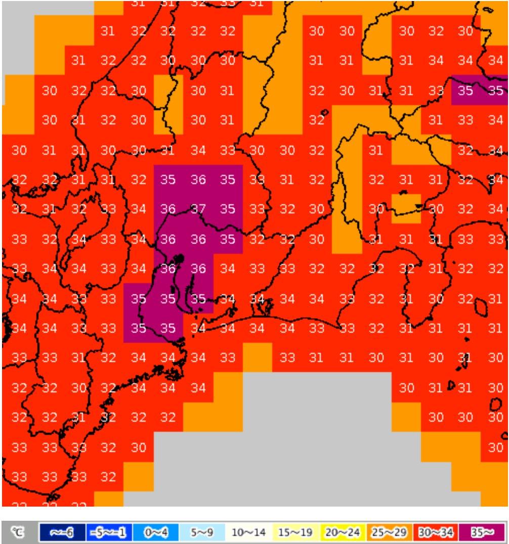 危険な暑さにくれぐれも注意を. 今日13日の最高気温は岐阜・大分県日田37℃,名古屋・京都・佐賀・久留米・山口36℃を筆頭に,東~西日本の広い範囲で最高気温35℃以上の猛暑日が見込まれています.熱中症のリスクが極めて高くなります.必ず暑さ対策をし,体調管理に十二分にお気をつけ下さい.