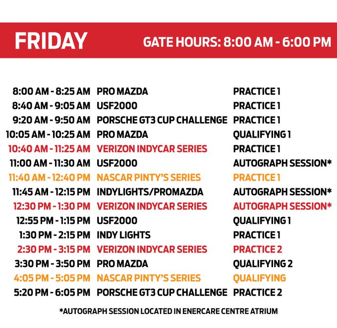 For all your #indyTO planning needs, like, retweet, screenshot, whatever you need to do, this #FanFriday schedule 👇 Photo