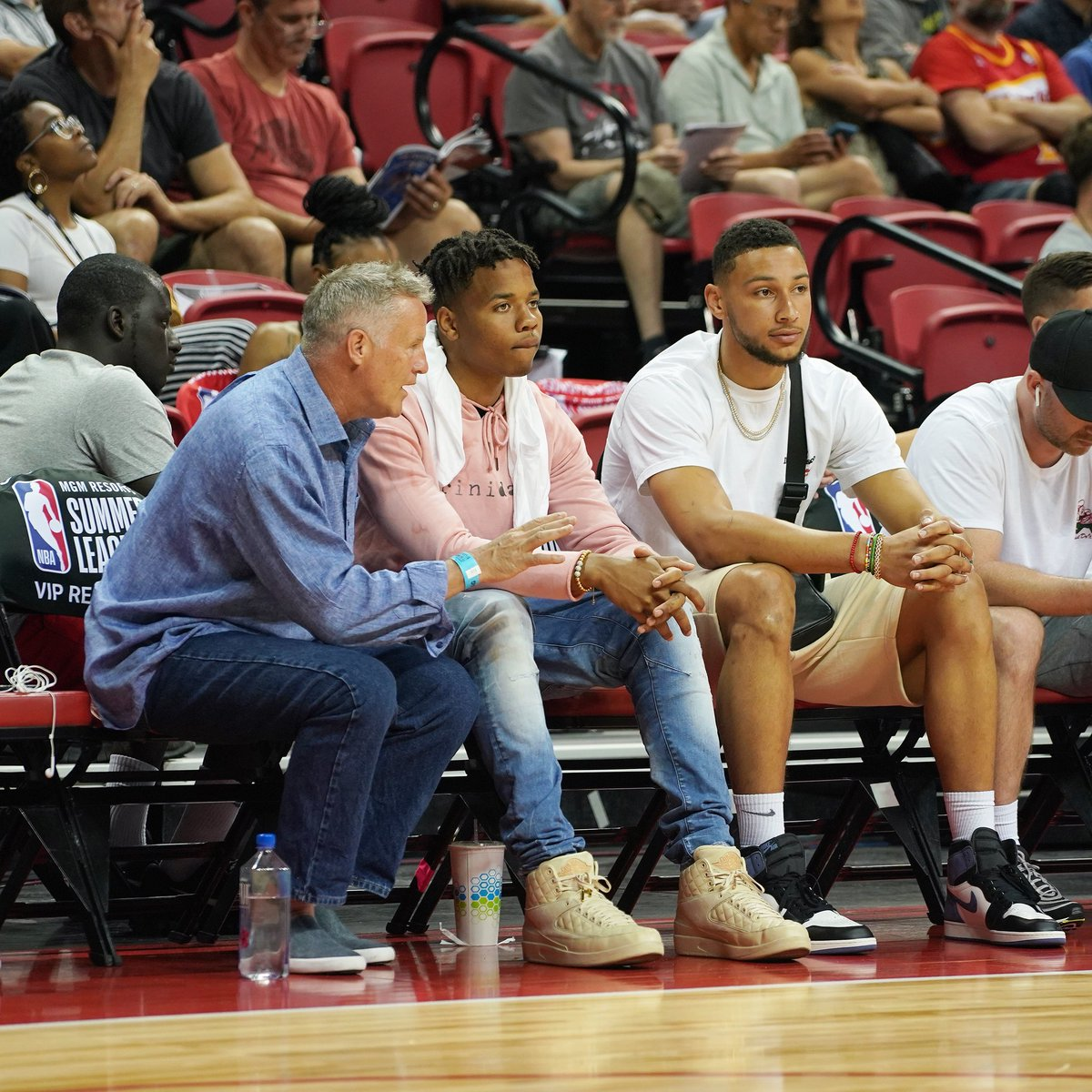 Coach, @MarkelleF and @bensimmons25 sittin' courtside for today's Summer League action! #Summer76