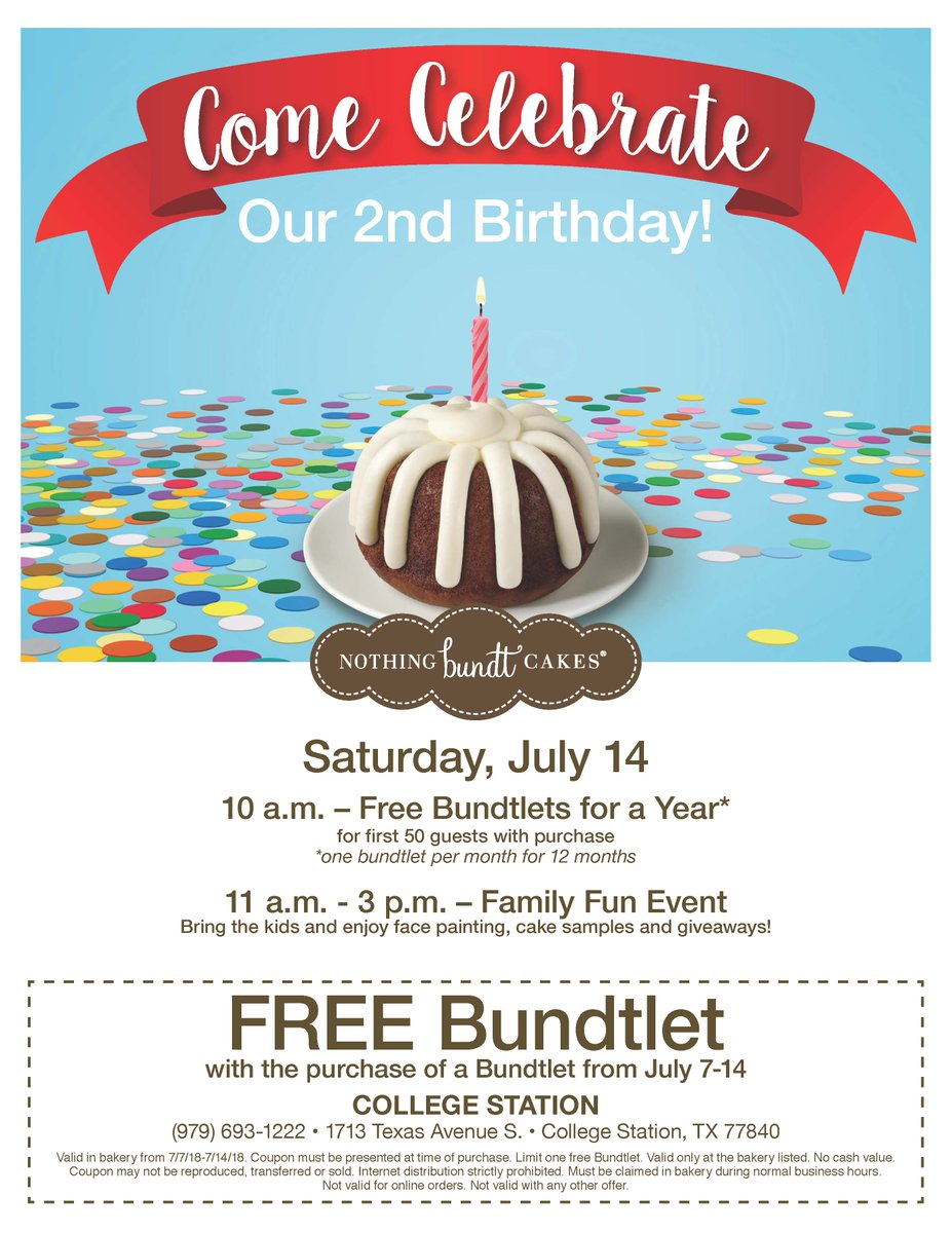 Rmhc Ctx Happy 2nd Birthday To Nothing Bundt Cakes In
