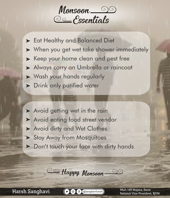 Monsoon season came with its own charms like cool weather & green environment. However, just like most good things come with few undesirable consequences, monsoon also bring diseases and infections with it. Therefore, sharing some tips to stay healthy this monsoon #FridayFeeling Photo
