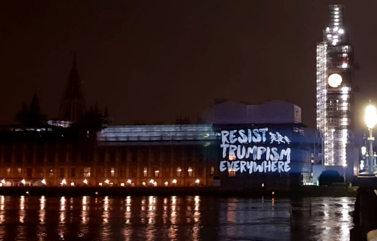 Tonight, we projected a message of global solidarity against Trumpism onto Parliament #TrumpUKVisit @UKStopTrump