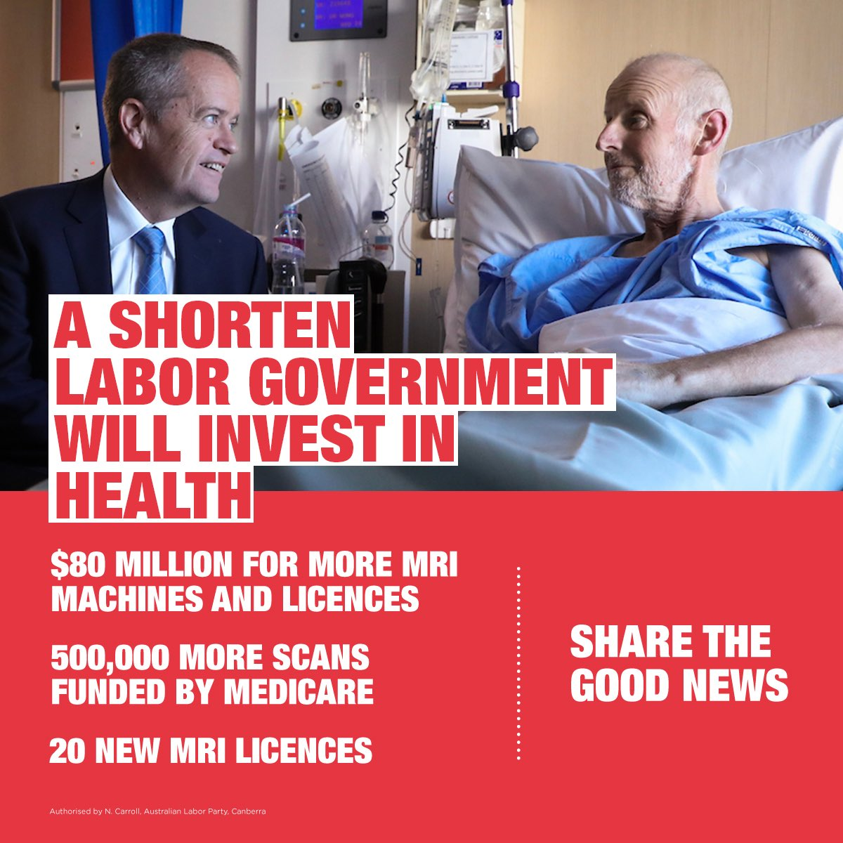 Labor believes the health of your family is more important than giving another tax cut to the top end of town. We'll fund 20 new MRI licences - meaning 500,000 more scans funded by Medicare. And we'll pay for it by stopping Turnbull's $17 billion handout to the banks.