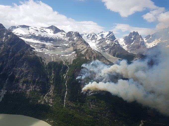A remote 8 ha. fire is burning in steep terrain by the N Kliniklini River headwaters (Coastal Fire Centre). #BCWildfire Service has assessed the lightning caused fire and will monitor growth within natural boundaries. No communities threatened, but some smoke may be visible Photo