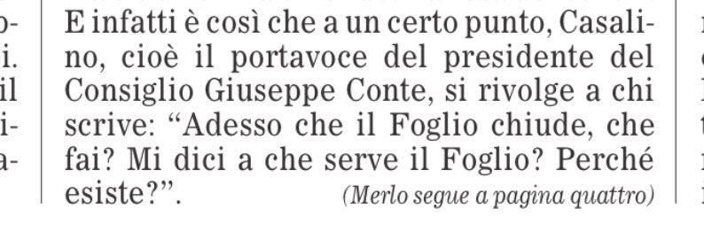 Lo ripeto anche questa mattina: la frase del portavoce del Presidente del Consiglio, riportata oggi da @ilfoglio_it, è la frase più grave, più fascista, mai pronunciata da un esponente del governo negli ultimi 70 anni.