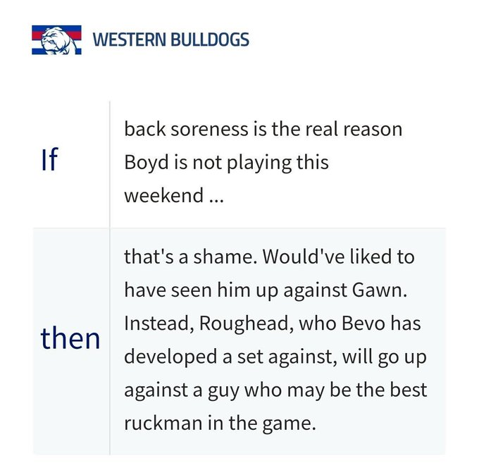 Dear @AFL, please explain why your employee Barrett is implying that Tom Boyd isn't really suffering back soreness & subsequently mocking his mental health issues? @beyondblue #AFLDeesDogs Photo