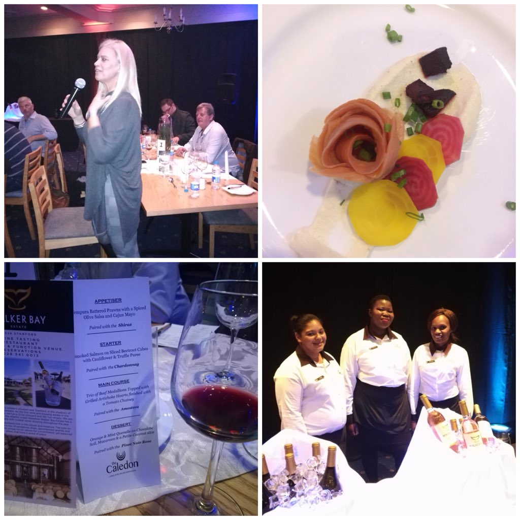 Wine &amp; Dine Evening Tsogo Sun's The Caledon. Amazing food paired with our Walker Bay wines, memories to cherish #lovemywine #passion  #walkerbay #coolclimatewines<br>http://pic.twitter.com/axjKjC7VP2