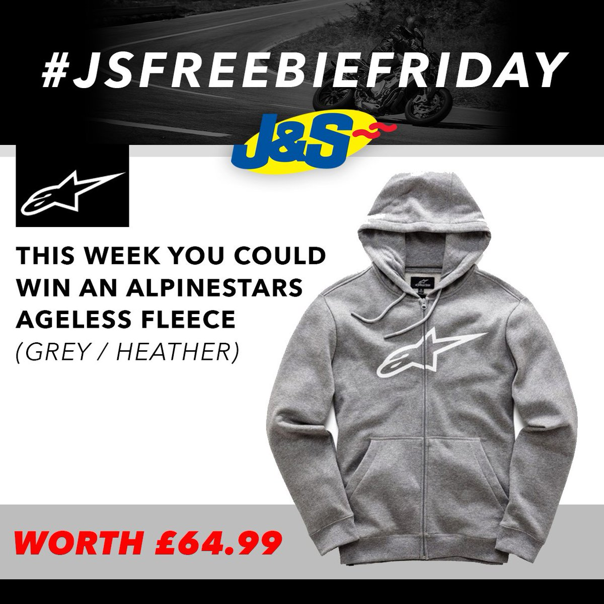 #JSFREEBIEFRIDAY Follow us on Twitter and retweet this post for a chance to win an Alpinestars Ageless Grey Hoodie worth £64.99. Ends Tues July 17th. You can also enter by signing up to our newsletter here:  Happy Friday everyone!