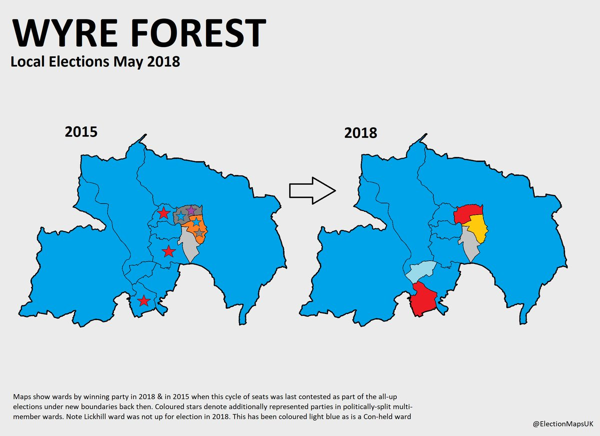 maps is wyreforest where con held their majority despite losing a net 2 seats to labour and 1 seat to the lib dems council now con 21 lab 4