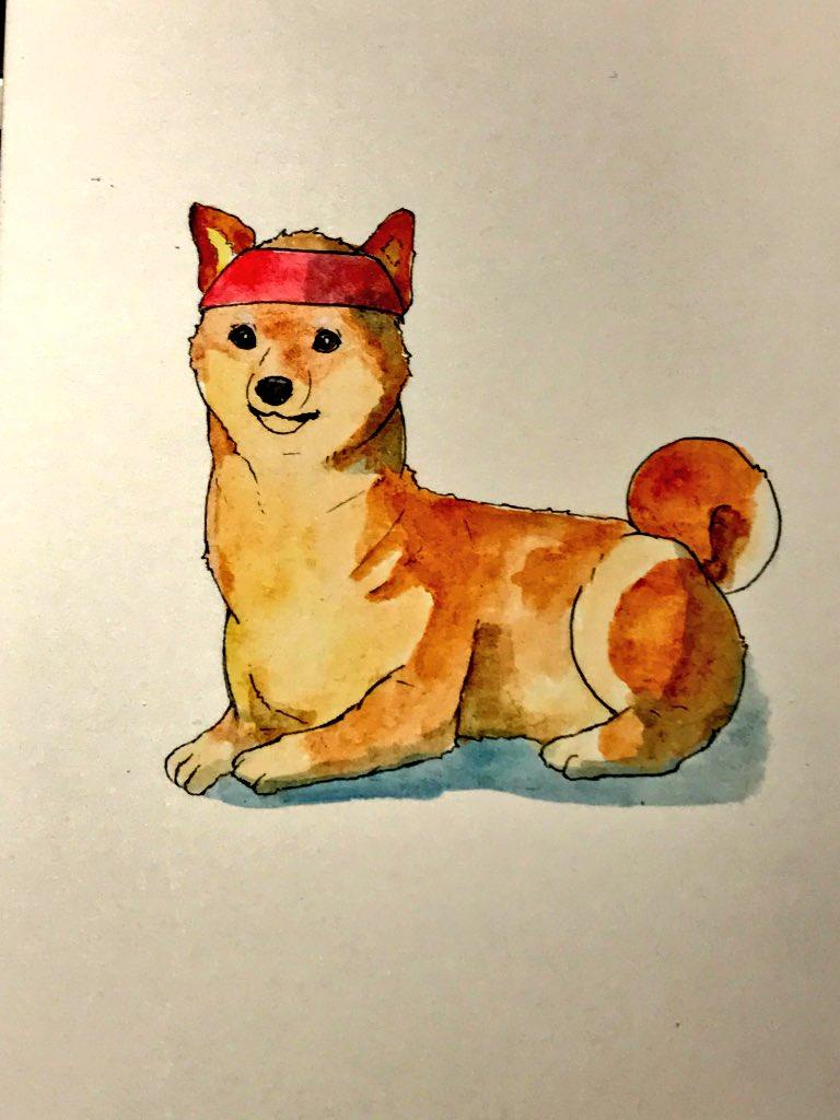 なんか唐突に描きたくなった高原 日勝犬 犬化とか 「俺より強い犬に会いに行くワン」 「波動犬!!」  それストリートファイターや  #LAL #ライブアライブ #高原日勝 #犬化 #水彩 #Watercolor