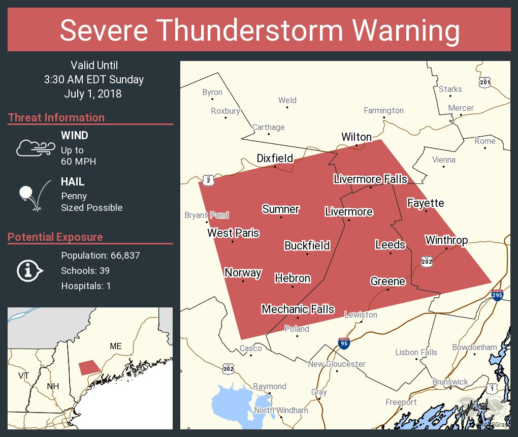 South Paris Maine Map.Nws Gray On Twitter Severe Thunderstorm Warning Including Norway