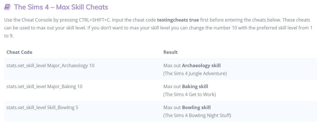sims 4 cheat codes skills