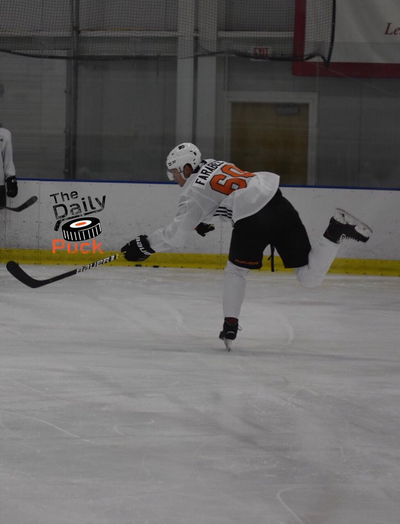 Joel Farabee: someone I can see moving up in 1-2 years. His shot is nothing short of excellent & he played an aggressive offense. No one got the better of him without working for it. #FlyersTalk #Flyers #DevelopmentCamp #JoelFarabee