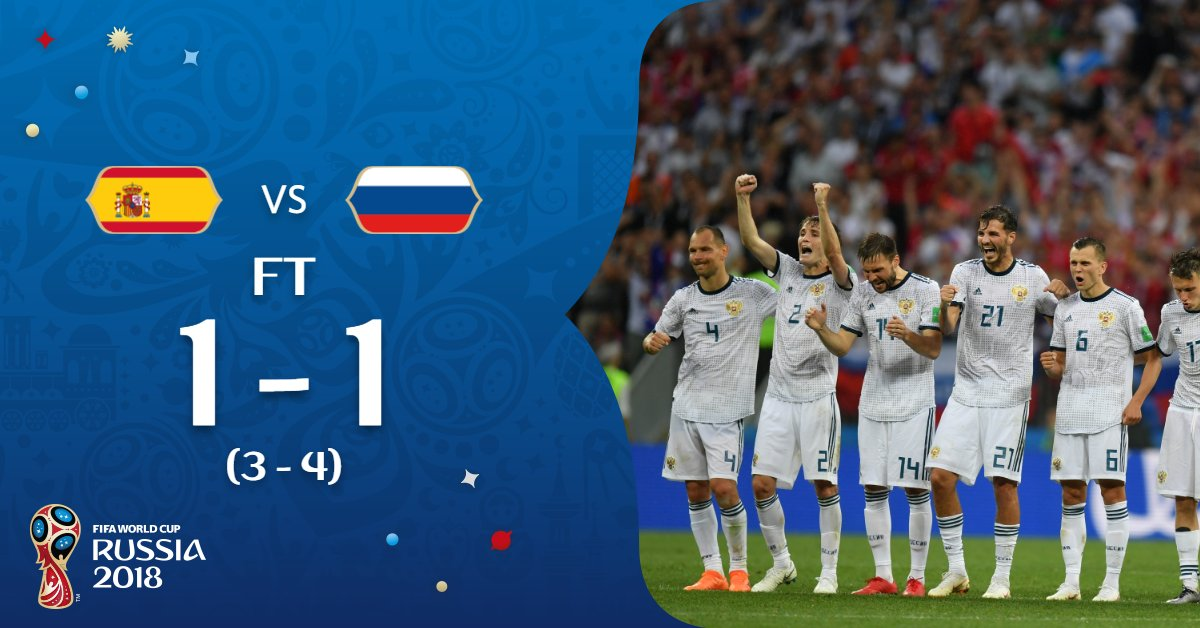 #RUS live on!  The Luzhniki has exploded into a sea of celebrations. The hosts are into the quarter-finals!  #ESPRUS