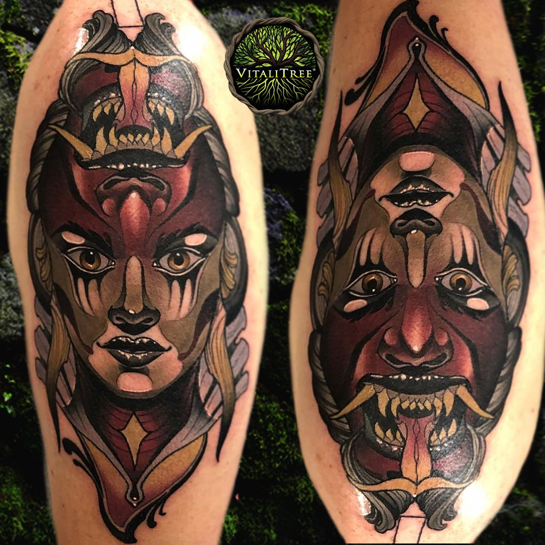 68b328ce55057 This demon lady tattoo speaks volumes no matter which way you view it. Ink  by @mikeytattoo. @VitaliTreeTat2 medicine for the skin.