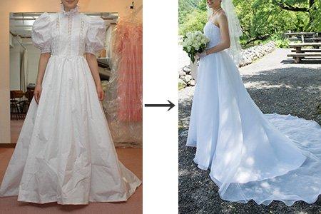 #お母様のウェディングドレス をリメイクされて挙式をされました。ご自身のサイズに合わせるだけでなく、ご希望のデザインを取り入れて新たなドレスへと生まれ変わりました♬ お客様と充分ご相談を重ねて出来上がったドレスはこちらです。#パフ袖 #リメイク #ウエディングドレス #ヴィーヴラマリエ