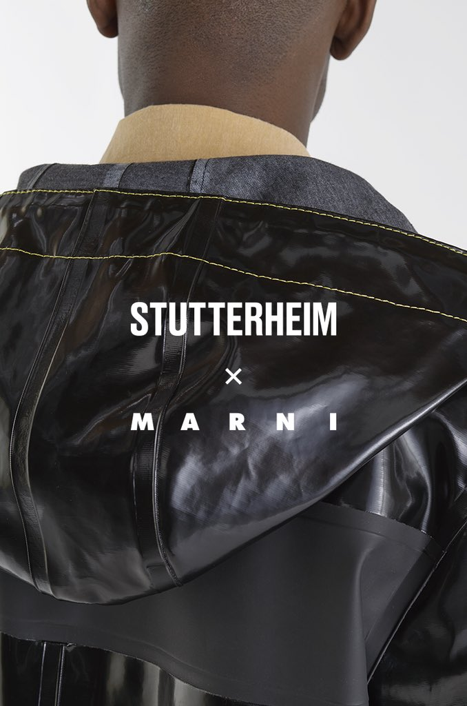 Stutterheim x @Marni AW18 For the third season, Stutterheim team up with the Italian luxury brand – this time for two bold men's styles. A result of combining Marni's experimental approach to shape and colors, with the timeless and subtle design significant for #Stutterheim.