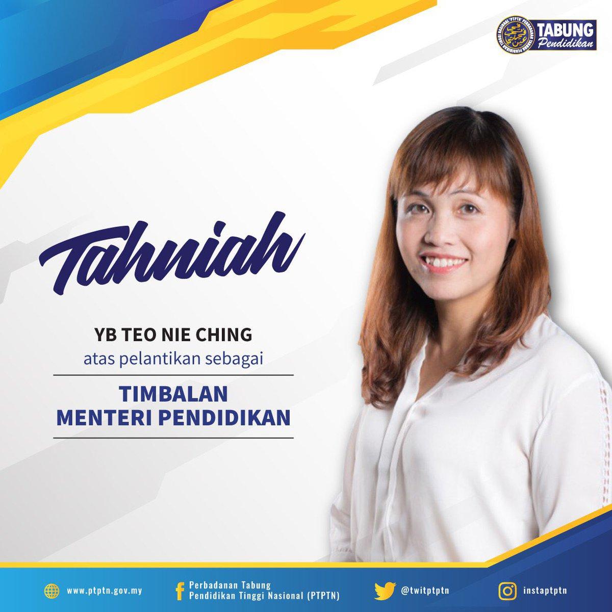 Ptptn On Twitter Tahniah Di Atas Pelantikan Yb Teo Nie Ching Ahli Parlimen Kulai Johor Yang Dilantik Sebagai Timbalan Menteri Pendidikan Yang Baharu Ptptn Mengalu Alukan Yb Memimpin Kementerian Pendidikan Demi Masa Depan