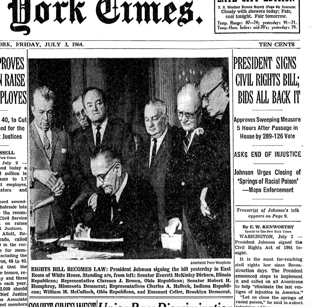 Michael Beschloss On Twitter New York Times LBJ Signing Of Civil Rights Act Today 1964