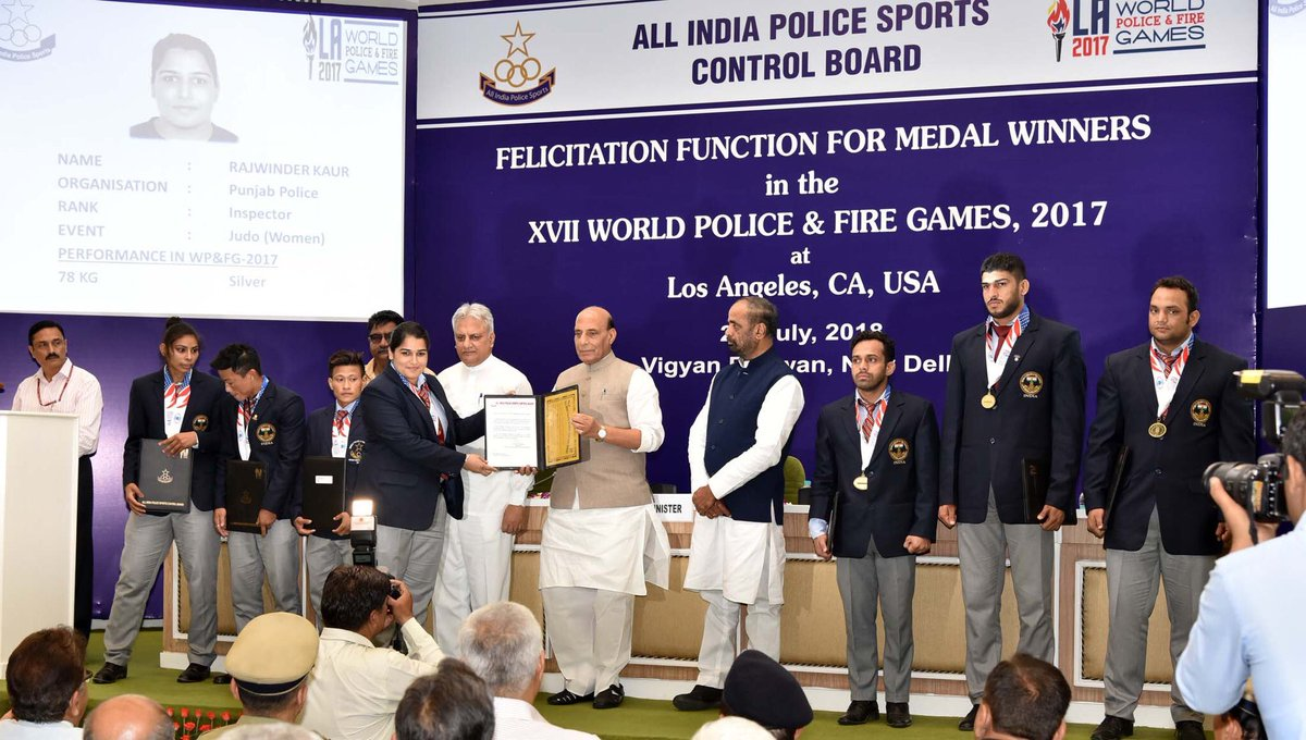 Image result for HM Rajnath Singh felicitates medal winners of 17th World Police & Fire Games