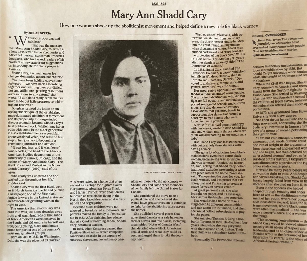 Feministlawprfs On Twitter Nice Piece In Today S Nytimes On Howardlawschool Grad Mary Ann Shadd Cary Class Of 1870 Lawyer Publisher Educator Abolitionist Https T Co Yno8whaglh