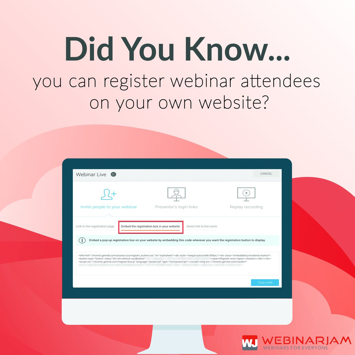 Webinarjam On Twitter Did You Know Webinarjam Offers A Nice Range Of Smart Webinar Registration Pages But If You Prefer To Take Full Control You Also Have The Option Of Embedding Your
