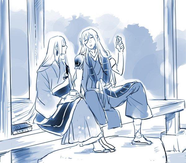 らくがき似てる二人…。縁側でちんすこう食べながら和み系男士会してほしい…後ろからみたら二つの滝。