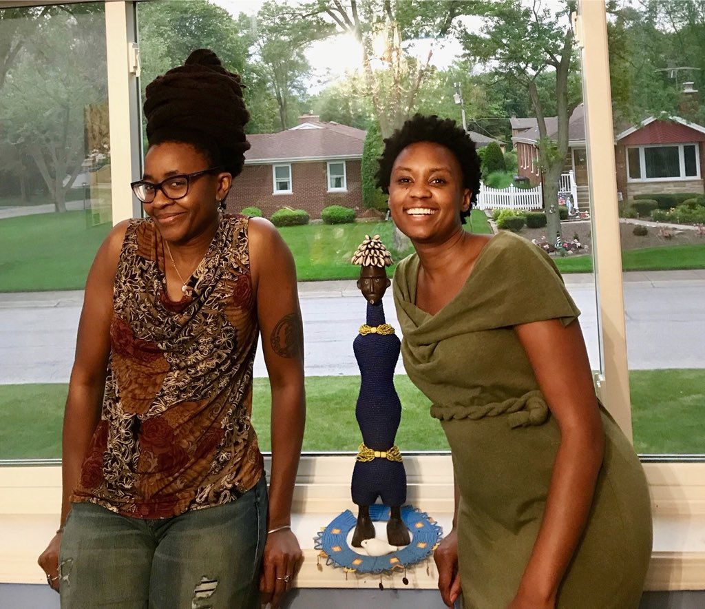 Me and film director Wanuri Kahiu (Pumzi, Rafiki) at my place in Chicago yesterday. Now we've both been to each other's homes (I've visited her home in Nairobi, Kenya). Wanuri and I are collaborating on a plethora of projects, so stay tuned. 😃 🌍🦋🚀#africanfuturism