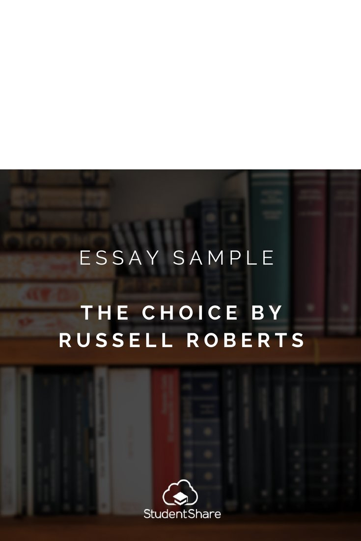 Essay On Terrorism In English Studentshare On Twitter Download Essay Sample The Choice By Russell  Roberts At Httpstcoeaxemvncv Studentshare Essay Sample  Health Essay also Example Of Thesis Statement For Essay Studentshare On Twitter Download Essay Sample The Choice By  English Literature Essay