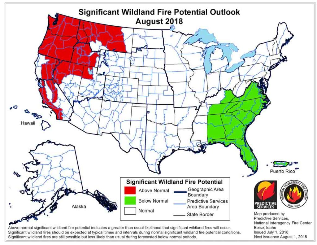 Fire Map California July 2018.Wildfire Today On Twitter Wildfire Potential Increases In