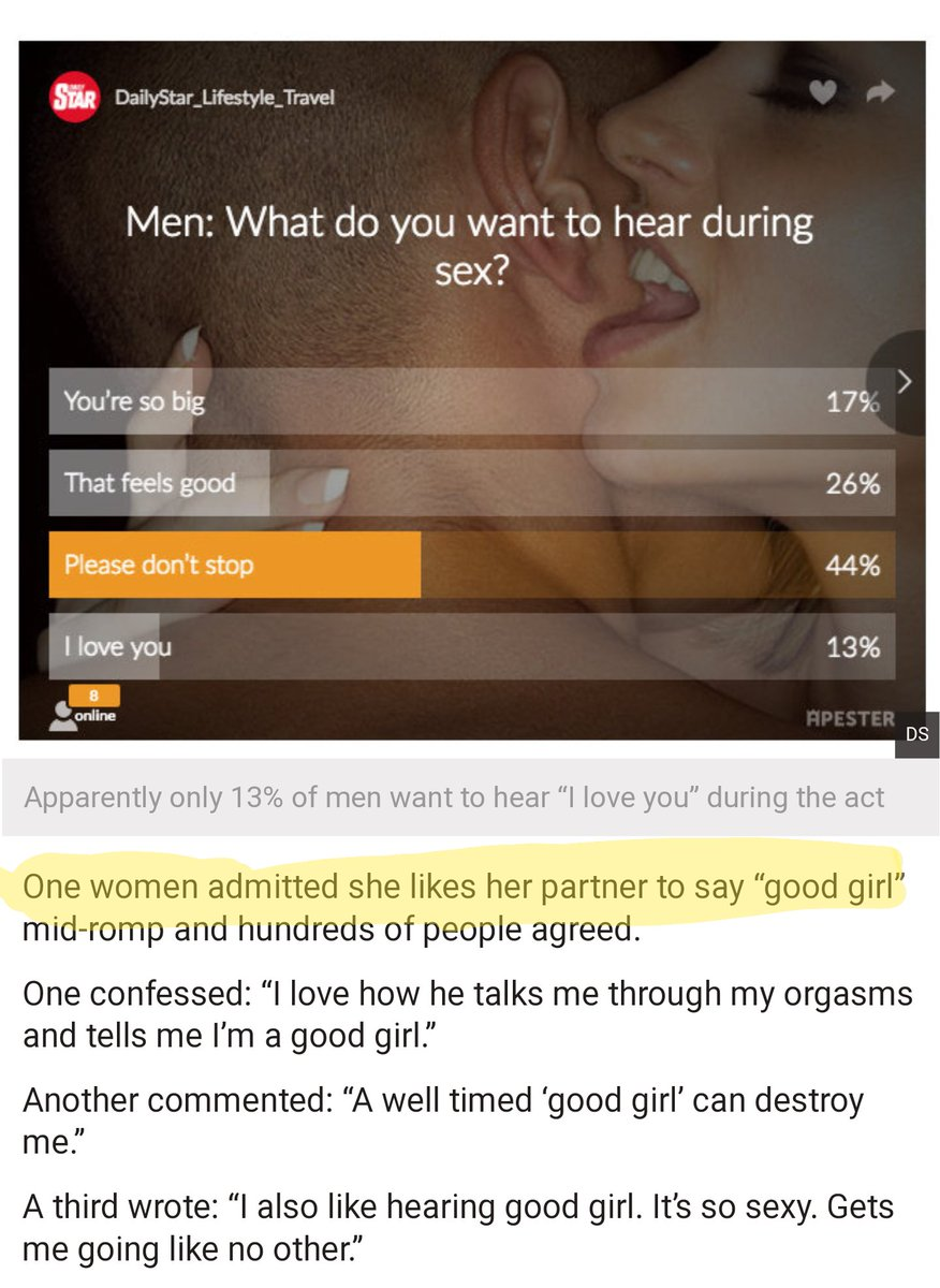 What do girls like to hear during sex