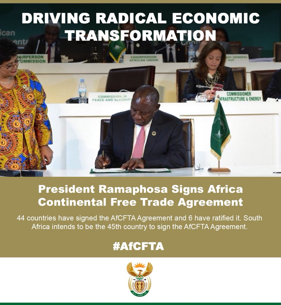 President Has Signed The Africa Continental Free Trade Area Afcfta