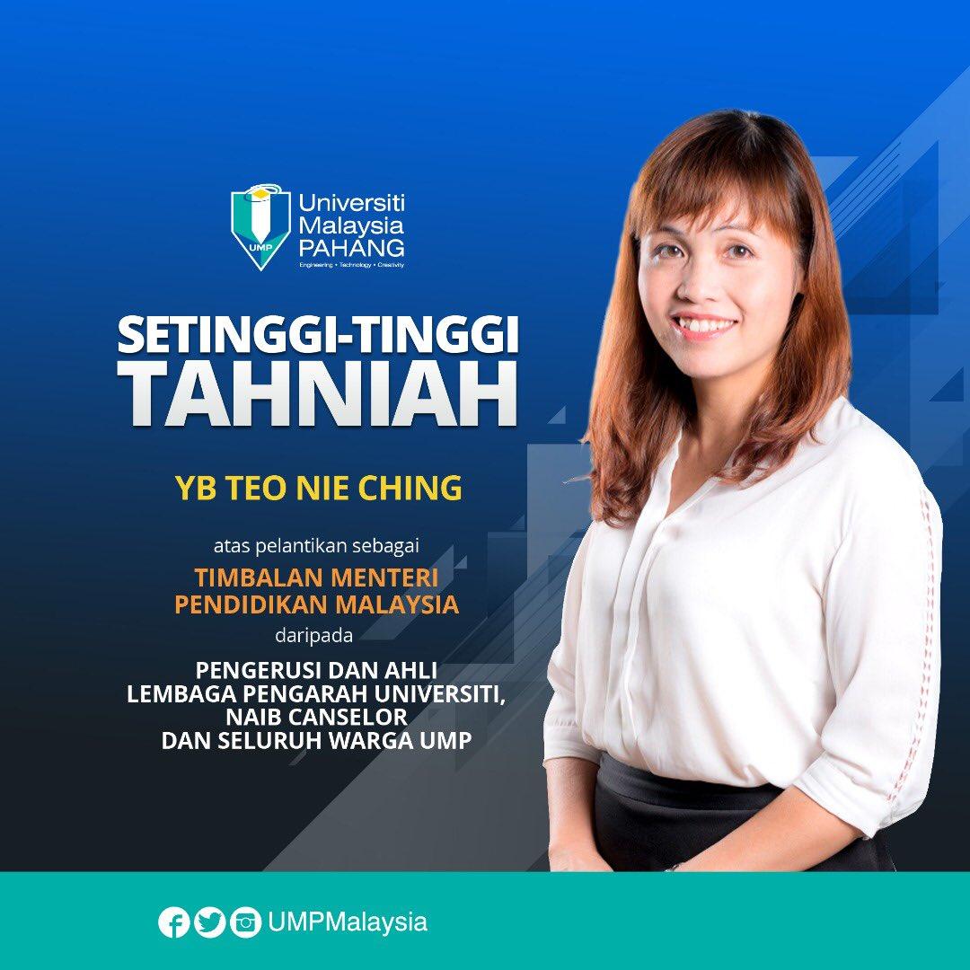 Ump Malaysia Ar Twitter Setinggi Tinggi Tahniah Yb Teo Nie Ching Yang Dilantik Sebagai Timbalan Menteri Pendidikan Yang Baharu Kpmspt Maszlee Https T Co Ywu2g9yxsh