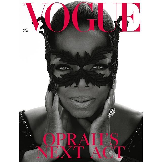 Oprah's Next Act. On the subscriber's cover of the August issue of @britishvogue, @Oprah wears a made-to-order @simonerocha_ jewelled lace coat and made-to-order @philiptreacy lace mask with a @chanelofficial white and black diamond ring. Photographed by@MertAlas and@MacP… https://t.co/NQreY4M4eQ